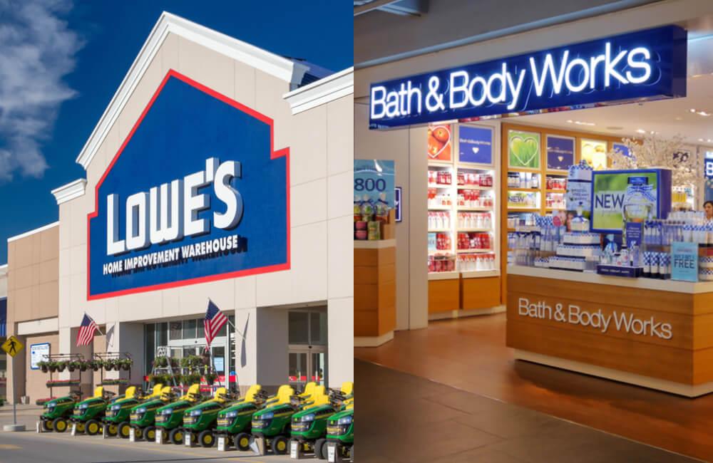 Lowe's ©Ken Wolter / Shutterstock | Bath and Body Works © mysirikwan / Shutterstock